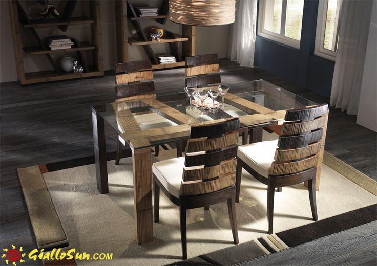 tavolo cross con sedie cross mobili entici e arredamento etnico lo puoi trovare su   http://www.giallosun.com/complementi/sale-da-pranzo/