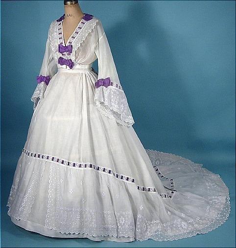 1860's sheer wedding dress.