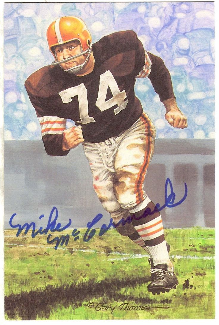 Autographed mike mccormack cleveland browns goal line art card w coa universities in pittsburghpittsburgh paart