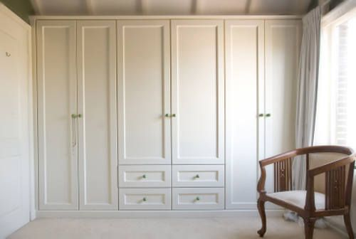 Built in Bedroom Furniture Designs with Cool Decoration Ideas : Bedroom Furniture White Color Cupboard With Small Chair