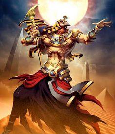 """Rá: Principal deus egípcio, Rá é o responsável pela criação do mundo e representa o Sol. Ele é descrito de diversas formas, desde com a face de uma ave de rapina até como um escaravelho. Os egípcios acreditavam que seu rei (o faraó) era a encarnação de Rá. Rá é o """"Grande Deus"""", símbolo da luz solar, criador da vida, assim como responsável pelo ciclo da morte e da ressurreição. Possuidor de inúmeras virtudes, é rei do mundo e Primeiro Senhor, o que estabeleceu a forma do mundo."""