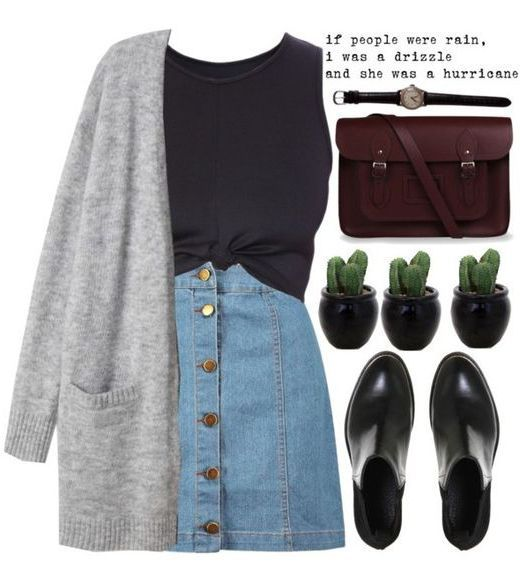 10 Super Cute Skirt Outfit Ideas You Can Try: #2. Denim Button Up Skirt