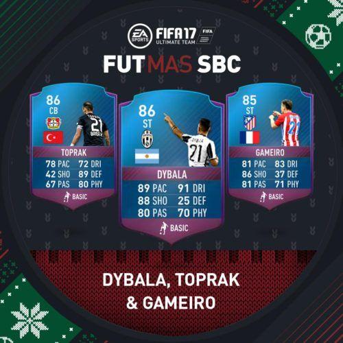 FIFA 17 FUTMAS Squad Building Challenge December 21st - FUT SBC Toprak, Dybala and Gameiro