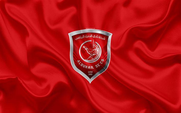 Download wallpapers Al-Duhail SC, 4k, Qatar football club, emblem, logo, Qatar Stars League, Doha, Qatar, football, silk texture, flag, Al-Duhail FC