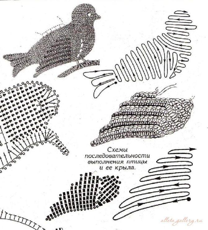 Картинки крючком схемы и описание птиц реалистично