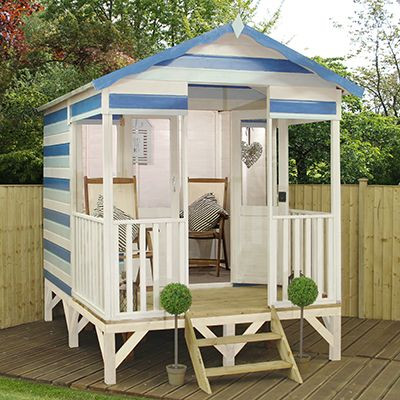 Add a touch of the seaside to your garden with this beach hut summerhouse. Raised on stilts, this nautical beach hut will take you back to days spent at the coast.
