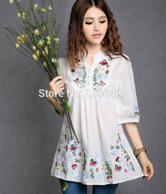 Nuevo de Las Mujeres tradicionales Chinas trajes étnico bordado de la flor del collar del soporte camisa blusa tops diseño de marca para mujer(China (Mainland))