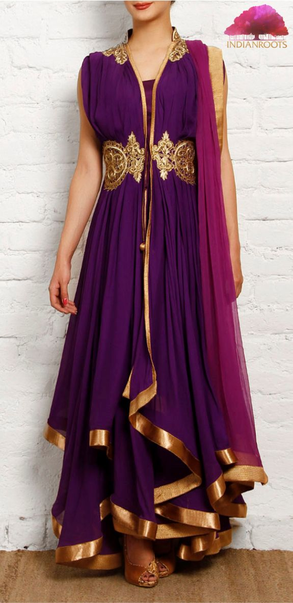 Purple and golden georgette anarkali by Gyans on Indianroots.com