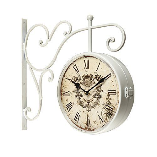 adeco white iron round doublesided wall hanging clock with scroll wall