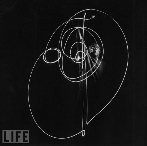 Picasso's Light Paintings. // Gjon Mili. Photographer Gjon Mili was the first to use electronic flashflash and stroboscopic light to create photographs that had more than scientific interest.