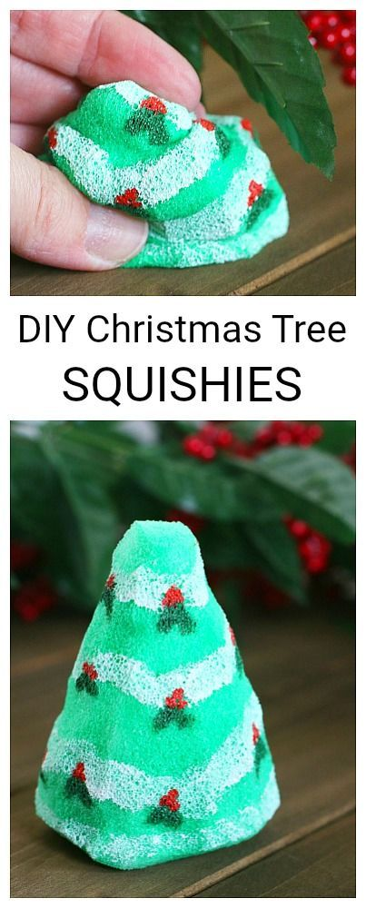 DIY Christmas Tree Squishy Toys: This Christmas craft makes a great sensory play material and is a hit with the kids! Use the toy squishies as a stress reliever, as a fidget toy, or just for fun. Post includes tips on making these with younger children. ~ BuggyandBuddy.com #squishies #homemadetoys #sensoryplay #christmascraft #christmascraftforkids #christmastreecraft #fidgettoy