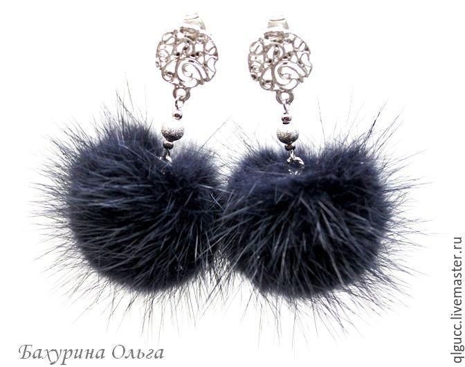 Купить Серьги из меха норки серого цвета - темно-серый, графит, подарок, стильное украшение