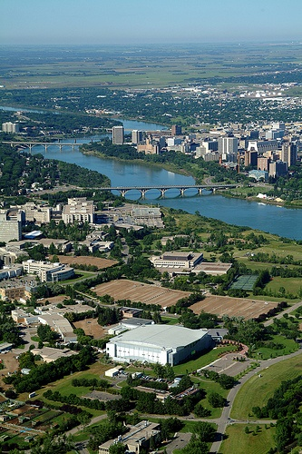 Aerial view of U of S grounds  by University of Saskatchewan, via Flickr