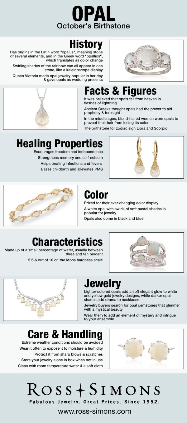 Learn about the history, facts, healing properties, color, characteristics and how to care for October's Birthstone, Opal.