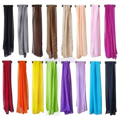 5 pcs/lot New Large Long Chiffon Feel Fashion Neck Head Scarf HK Free Shipping-in Scarves from Apparel & Accessories on Aliexpress.com