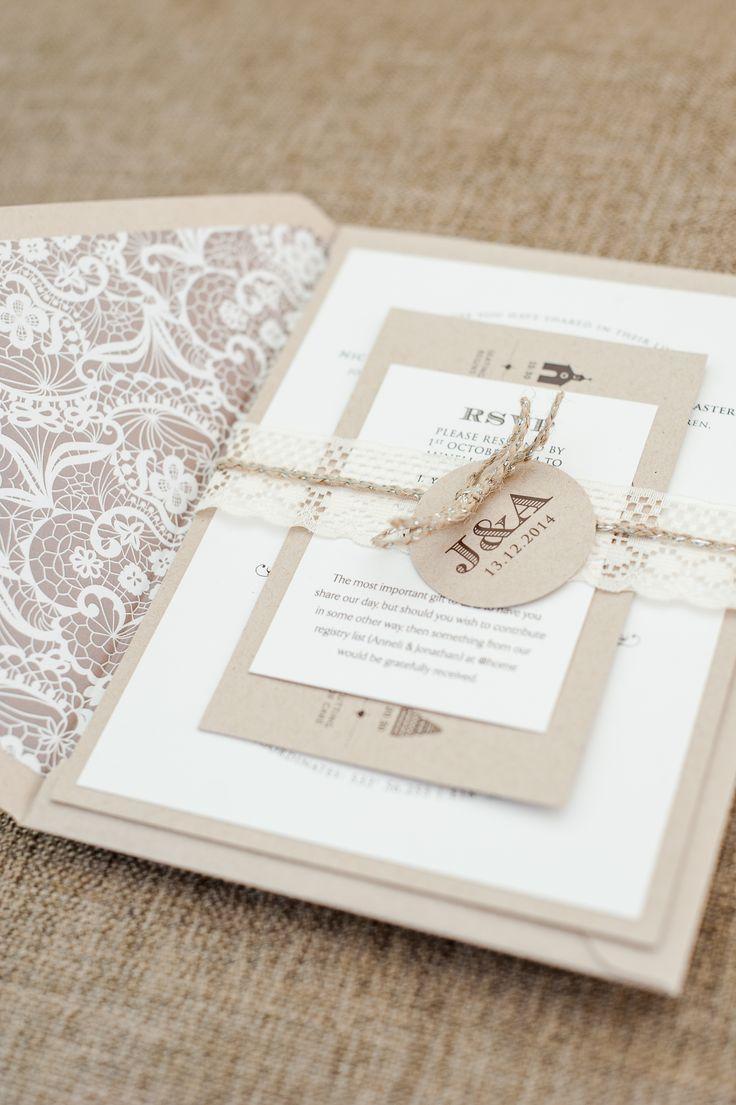 Vintage lace wedding invitation yet elegant www.creativeheroes.co.za