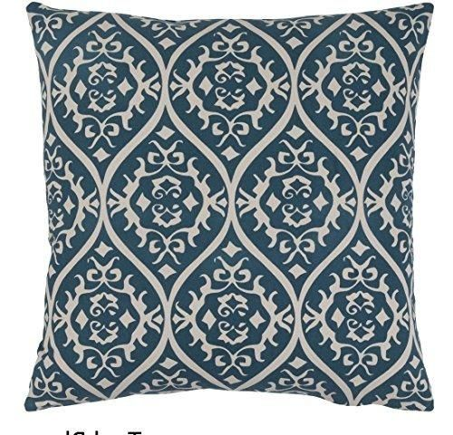 18x18 Blue White Floral Throw Pillow Jacquard Geometric Flower Pattern Shabby Chic French Country Damask Paisley Motif Theme Pillows Modern Throws