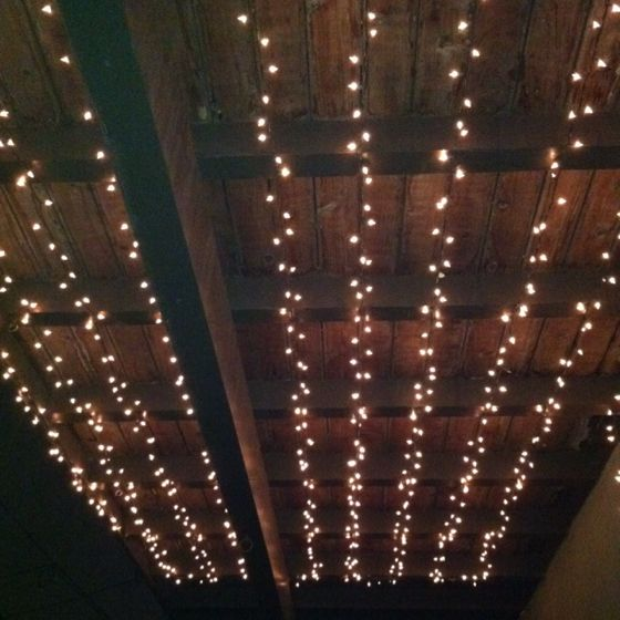 Beautiful way to light a balcony/deck, nice job @Callie Spaide!