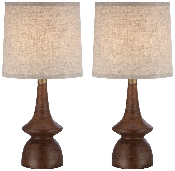 Marvelous Rexford Mid Century Walnut Table Lamp Set Of 2   Style # 4C512 4C512