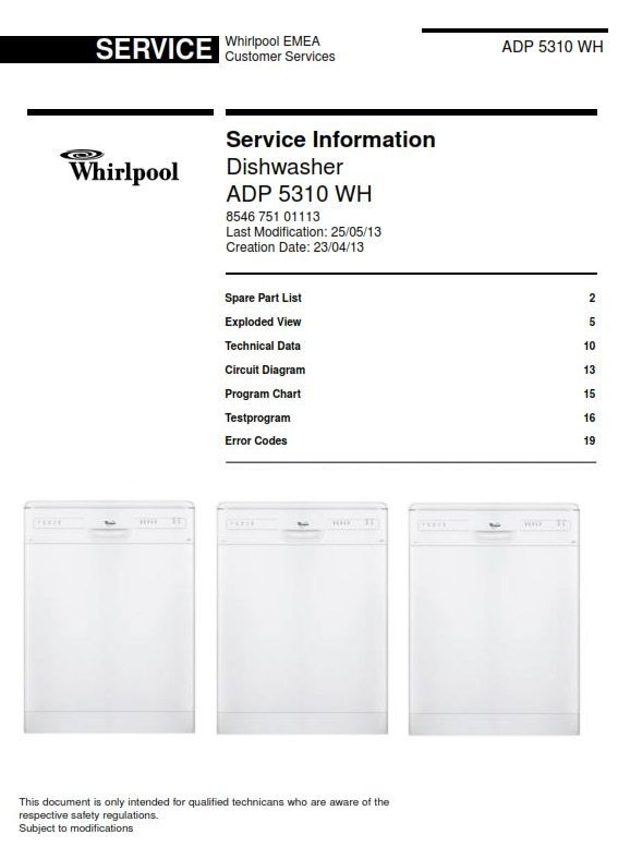 whirlpool adp 5310 wh dishwasher service information manual contents: spare  part list exploded view technical data circuit diagram program chart  testprogram