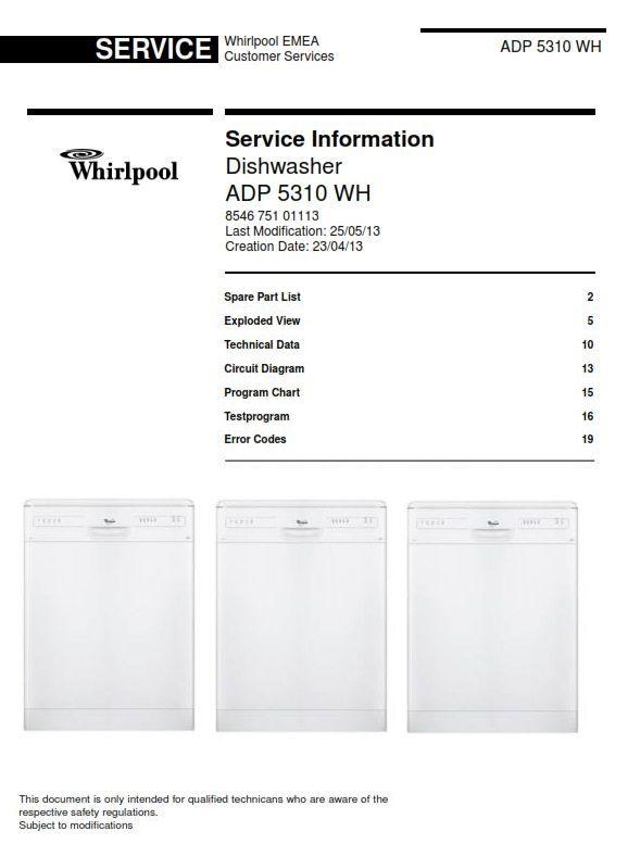 whirlpool adp 5310 wh dishwasher service information manual rh pinterest com