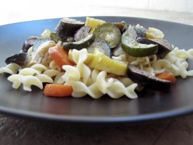 Vegan Roasted Vegetable Pasta Recipe with Zucchini, Mushrooms and Eggplant