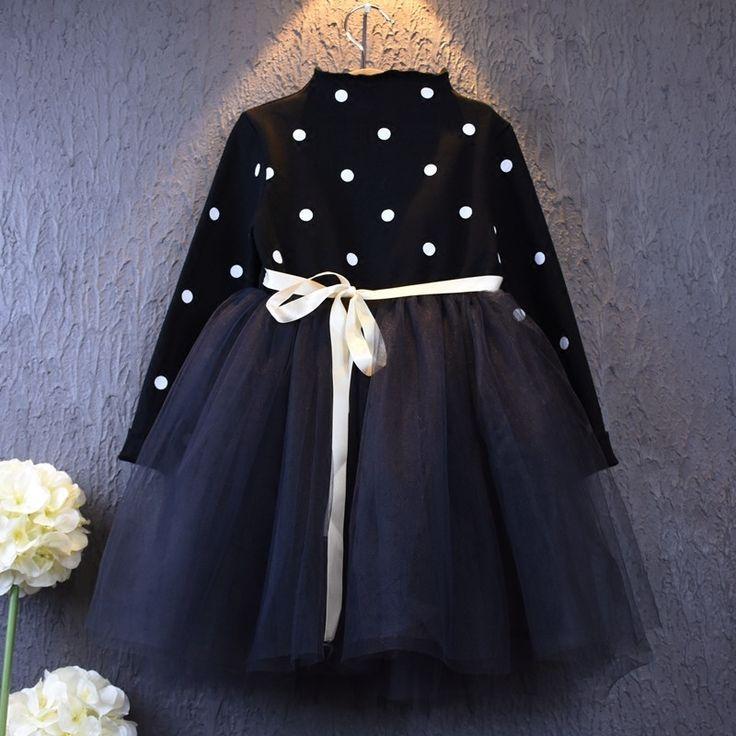 Liquidación 2016 Primavera Niña Vestido de Los Niños Ropa de Invierno de Manga Larga de Fiesta Vestidos de Princesa Tutú Del Cordón Marrón(China (Mainland))