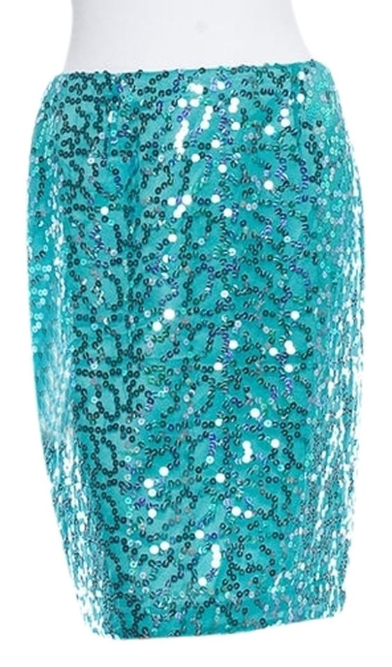 """David Meister Bright Teal Sequin Brocade Skirt. Size US 8. Excellent gently used condition with light overall wear and light wear at seams. 100% Polyester, dry clean only. Waist 28"""", Hip 36"""", Length 21"""". Retail $350.00 + Tax."""