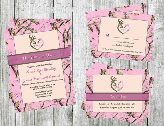 The Hunt is Over Wedding Invitation w/RSVP & Reception Cards PINK CAMO