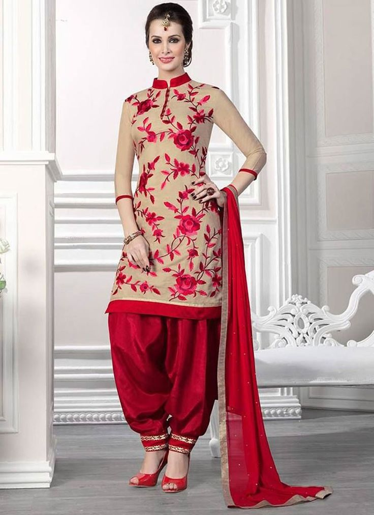 Cream And Maroom Cotton Patiala Suit Collection