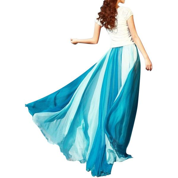 Chiffon Mix Color Pleated Elastic Waist Maxi Skirt (€16) ❤ liked on Polyvore featuring skirts, maxi skirt, beach maxi skirt, chiffon maxi skirt, pleated chiffon maxi skirt and long blue skirt