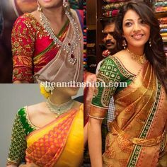 Silk Saree blouse design elbow length sleeve