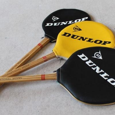 Vintage wood squash racquets.