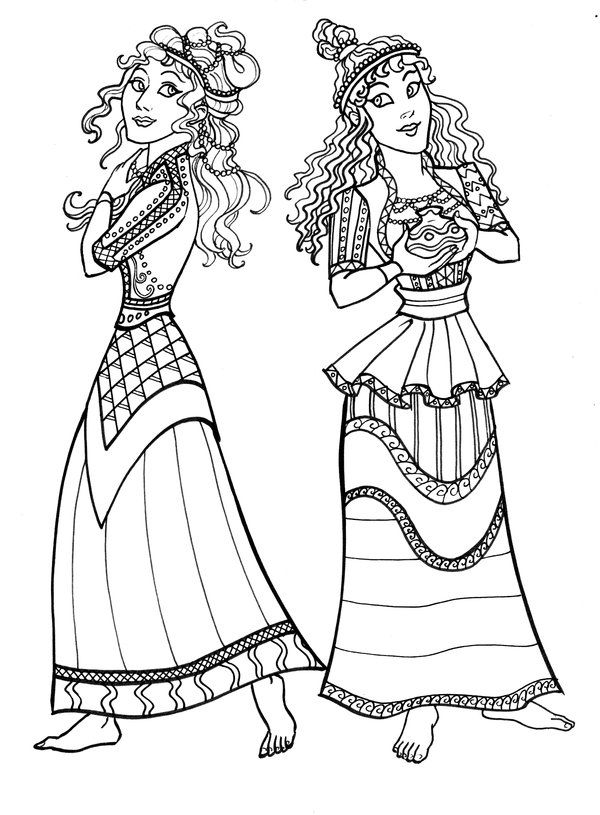 Ancient Minoan Dresses Coloring Pages