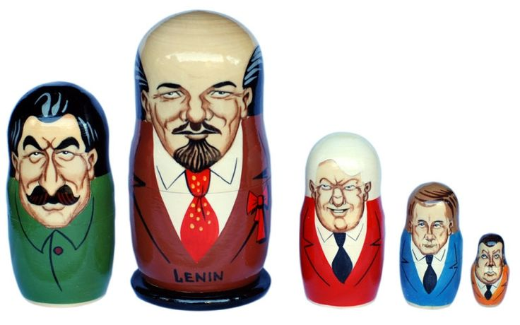 From Lenin to Putin matryoshka nesting doll, 5 pc, free shipping