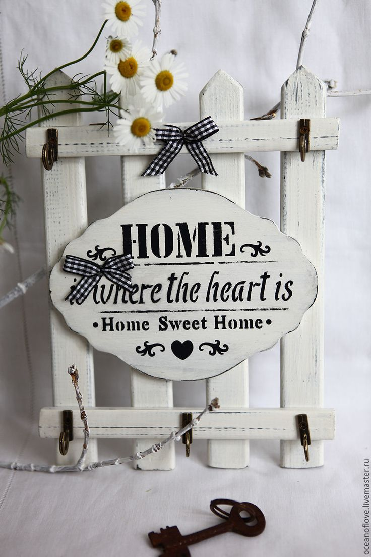 Buy Key-hanger HOME IS WHERE THE HEART IS.French-vintage. - white