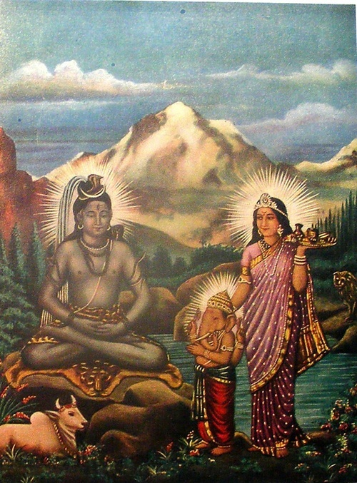 Shiva, Ganasha and Parvati.