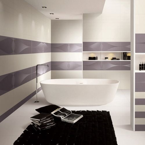 A large luxurious bathroom featuring patterned contrasting large format ultra-thin porcelain tiles measuring 1200 x 600mm from the Porcel-Thin PARIS collection