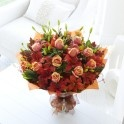 Autumn Rose and Lily Hand-Tied Bouquet. Available in 3 different sizes. For delivery anywhere in Ireland and the UK. http://www.lamberdebie.ie/shop/subcategory/autumn-flowers