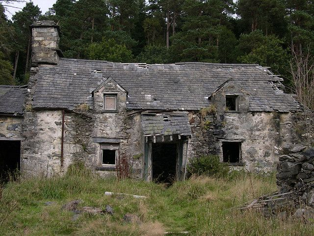 """""""Derelict Farmhouse"""" -- [An abandoned farmhouse near *Betws-y-Coed* in North Wales.]~[Photograph by Eifion - September 18 2005]'h4d-283.2013'"""