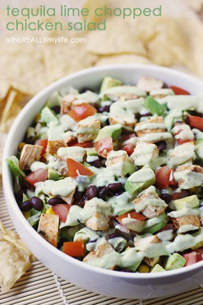 Tequila lime chopped chicken salad -- the perfect summer salad. The tequila lime chicken makes it one of the best salads ever. #salad #chicken #recipe via isthisREALLYmylife.com