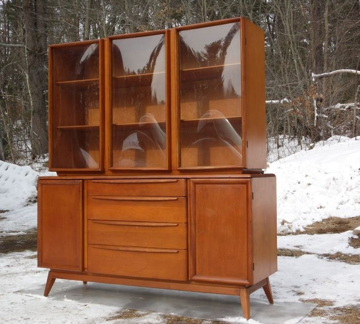 Vintage mid century modern heywood wakefield bubble glass china hutch credenza