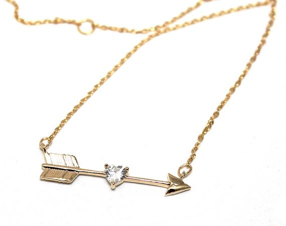 Womans gold necklace with Cubic Zirkonia, Arrow, boho, minimalist, rocker, contemporary, love, valentines, heart - Free shipping!