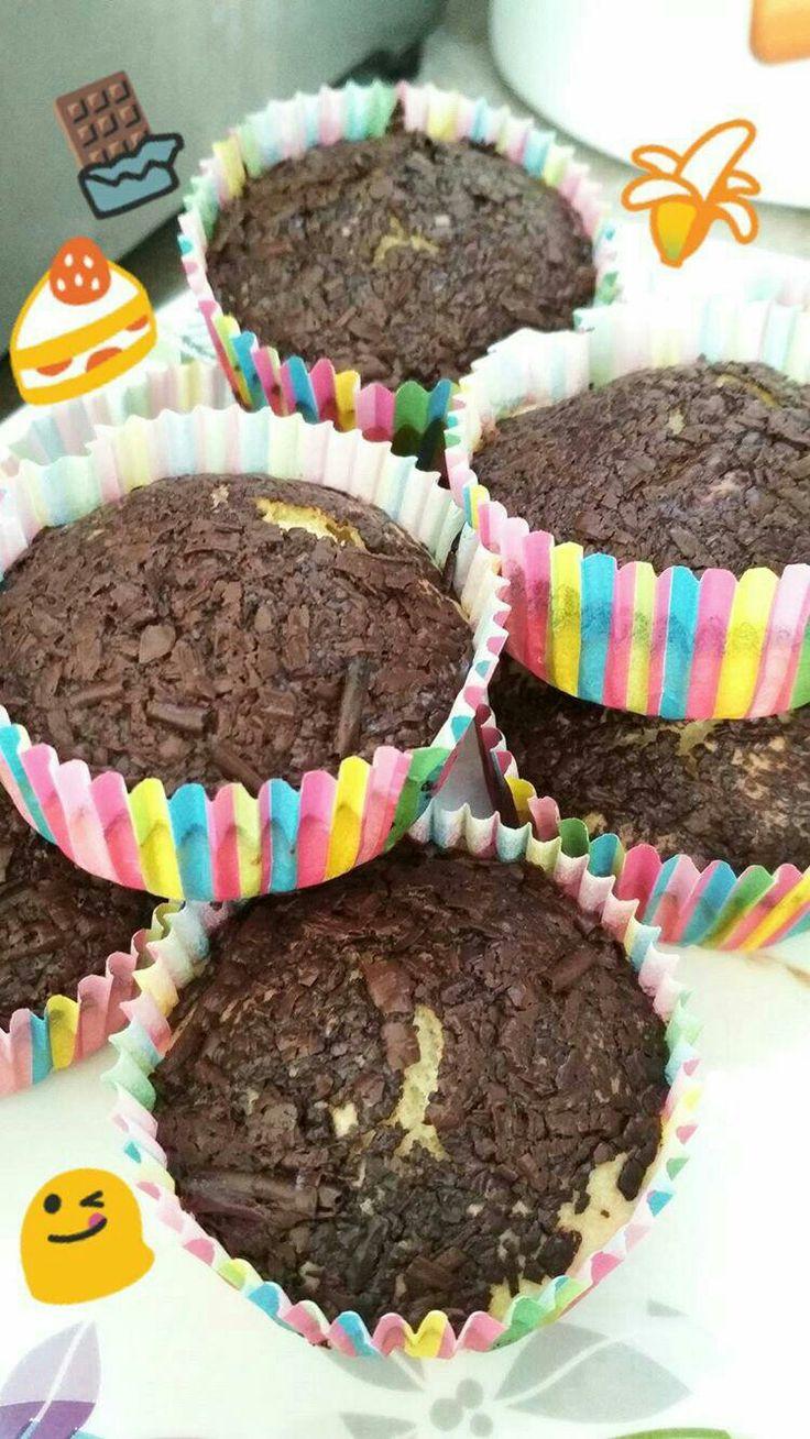 Ατομικά κέικ με μπανάνα και σοκολάτα 🍰🍌🍫 (mini cakes)