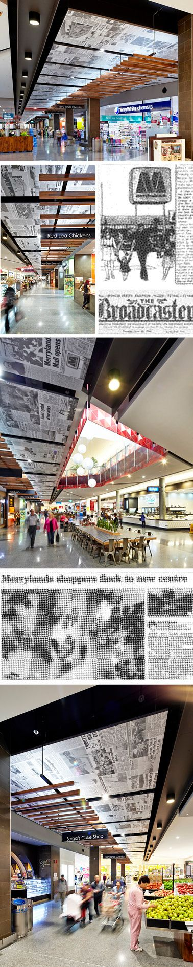 Newspaper Print Ceiling Feature. Graphic Design by Thoughtspace