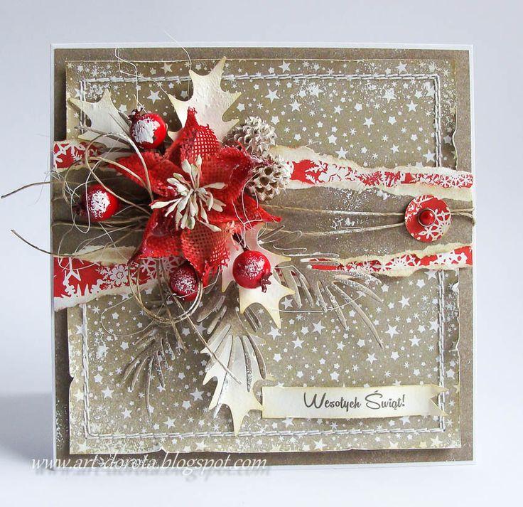 Card Christmas poinsettia befries holly leaves snowfall stencil vintage shabby shic Dorota_mk