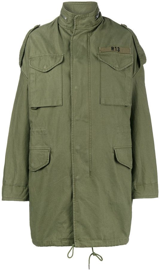 R 13 Olive Green oversized M65 parka coat