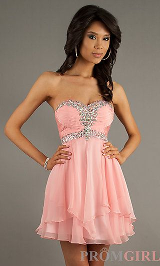 Short Strapless Dress for Homecoming by Alyce 3554