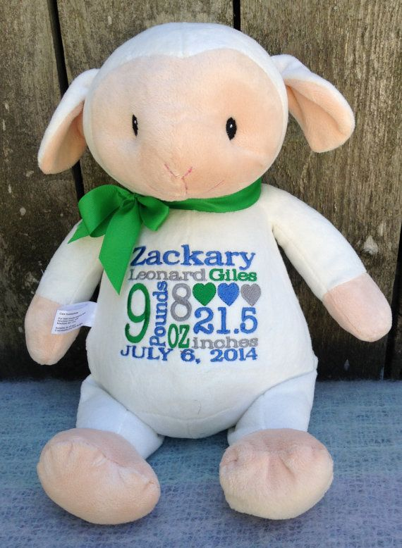 446 best personalized baby gifts images on pinterest personalized baby gift monogrammed lamb by worldclassembroidery 4299 baby shower gift lamb blue green gray negle Gallery