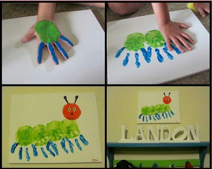 Hungry caterpillar hand print art. Pinned for BabyBump - the app for pregnancy - babybumpapp.com